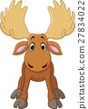 Cartoon happy moose with big horns 27834022