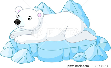 cute polar bear cartoon lay down