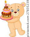 bear holding birthday cake 27835239