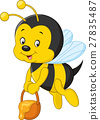 flying Bee cartoon holding honey bucket 27835487