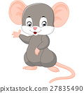 Cute mouse cartoon waving 27835490