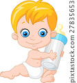 baby boy holding milk bottle 27835653