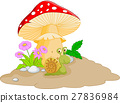 snail cartoon under mushroom 27836984