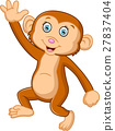 Cartoon cute monkey sitting 27837404