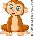 Cartoon cute monkey sitting 27837409