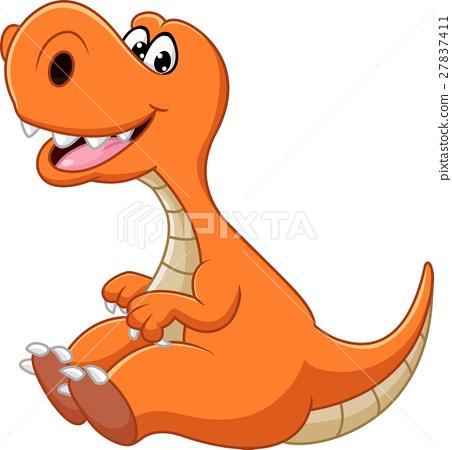 Dinosaur cartoon sitting 27837411