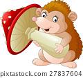 Cute baby hedgehog holding mushroom 27837604