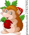Cute baby hedgehog holding apple 27837605