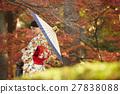 燦爛的秋葉和和服女性肖像 27838088