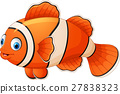 Cute clown fish cartoon posing 27838323