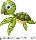 Cartoon baby turtle swimming 27838325