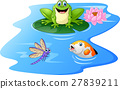 Cute green frog cartoon on a lily pad 27839211