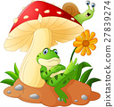 Cute frog and snail cartoon with mushrooms 27839274