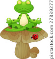 frog cartoon sitting on mushroom 27839277