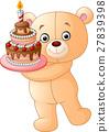 bear holding birthday cake 27839398