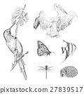 collection or set of hand drawn animals for design 27839517