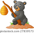 Cartoon bear holding branch with bee hive 27839573
