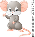 Cute mouse cartoon waving 27839751