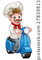 Cartoon Delivery Moped Scooter Chef 27839813