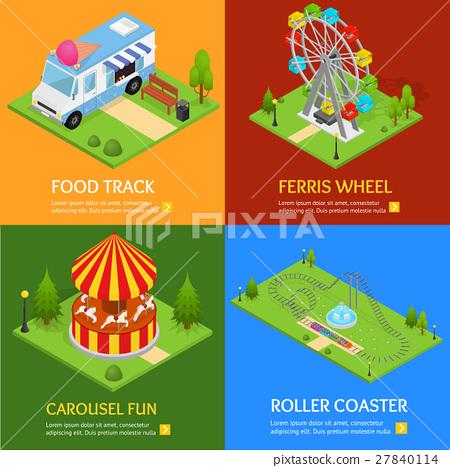 Amusement Park Banner Card Set. Vector 27840114