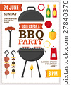 Barbecue and Grill Party Poster. Vector 27840376