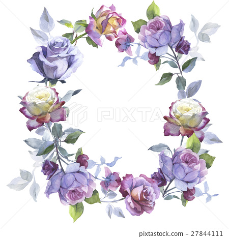Wildflower rose flower wreath in a watercolor 27844111