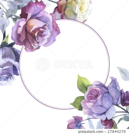 Wildflower rose flower frame in a watercolor style 27844270