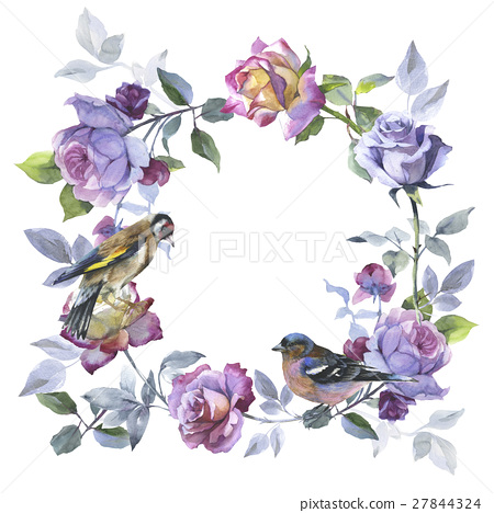Wildflower rose flower wreath in a watercolor 27844324
