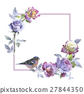 Wildflower rose flower frame in a watercolor style 27844350