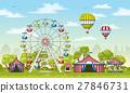 Illustration of an amusement park in summer 27846731