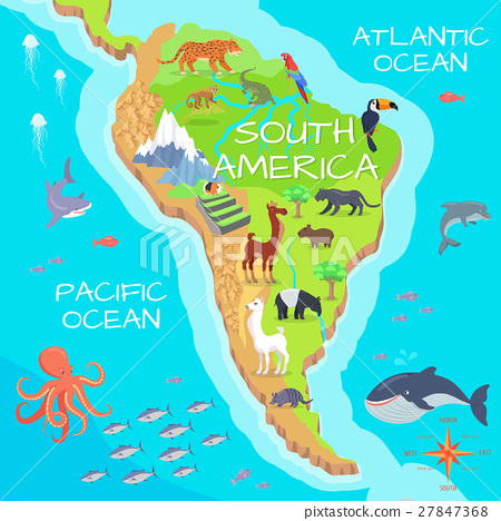 South America Mainland Cartoon Fauna Species  27847368