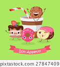 Bon Appetit. Funny Cartoon Characters Banner. 27847409