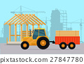 Tractor. Construction. Process of Building House. 27847780