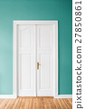 mint green walls and wooden door in apartment 27850861