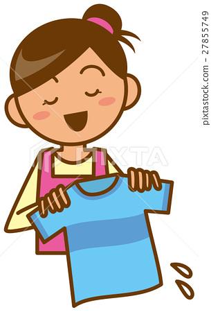 Housewife Wipe up upper body laundry image Illustration 27855749