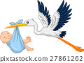 Cartoon stork carrying baby 27861262