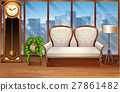 Room with white sofa and vintage clock 27861482