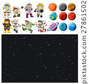 Space background and spaceman set 27861502