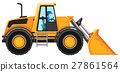 Man driving bulldozer on white background 27861564