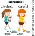 Opposite words for carelss and careful 27861598
