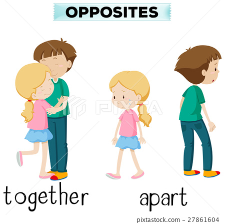 Opposite words for together and apart 27861604