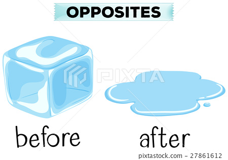opposite words for before and after stock illustration 27861612