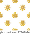 Seamless background with slices of lemon 27863974
