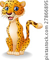 Cartoon happy cheetah sitting 27866895