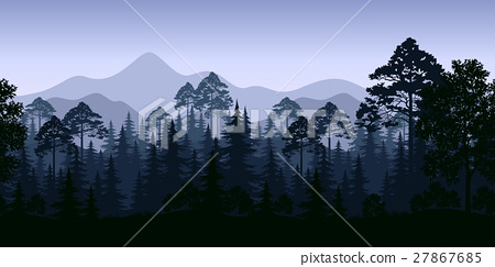 Seamless Landscape, Trees and Mountains 27867685