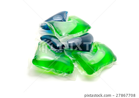Gel laundry capsules detergent isolated on white. 27867708
