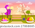 Spring Scenery. Urban Park with Bench, Flower Beds 27868685