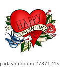Valentines Day card. Old school tattoo style. 27871245