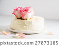 sweet white buttercream cake with rose 27873185