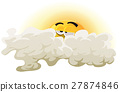 Cartoon Asleep Sun Character 27874846